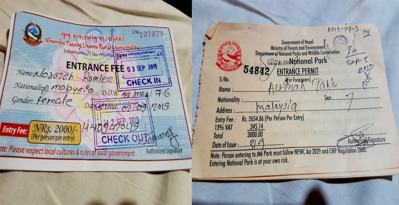 Everest base camp trek permit cost