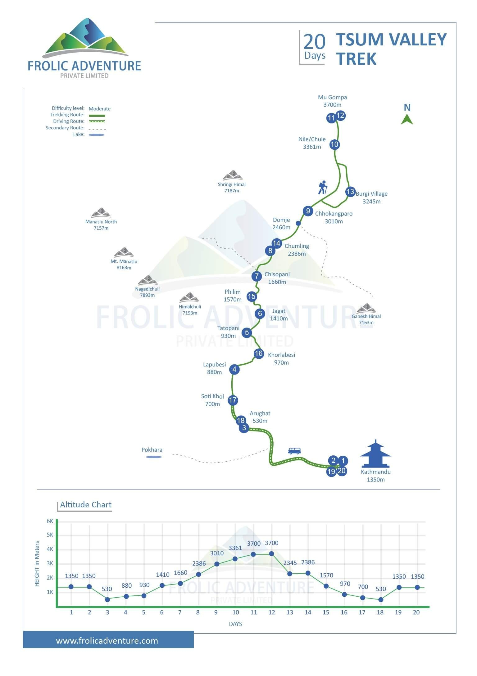 Tsum Valley Trek map